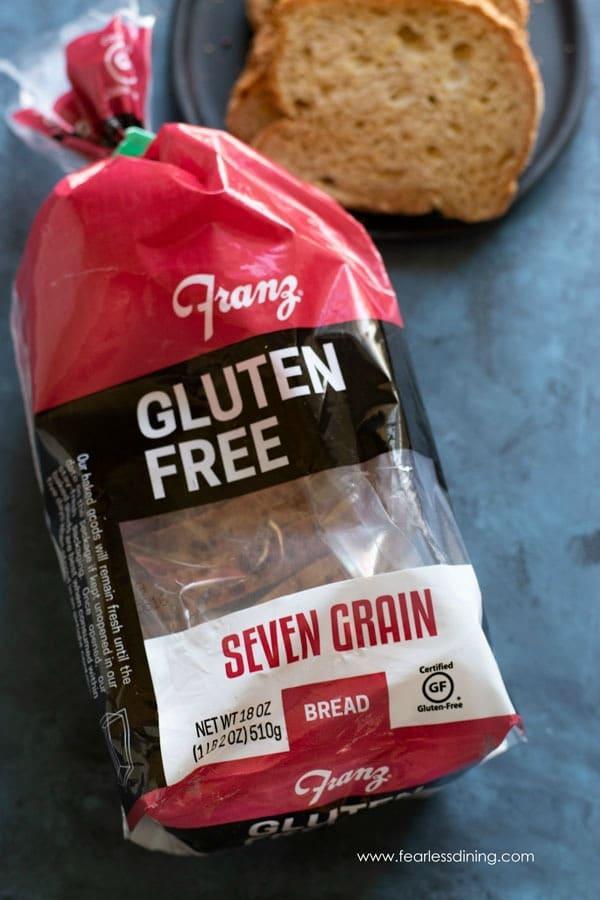 a package of Franz Gluten Free Seven Grain bread