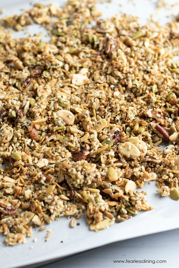 a tray of grain free paleo granola