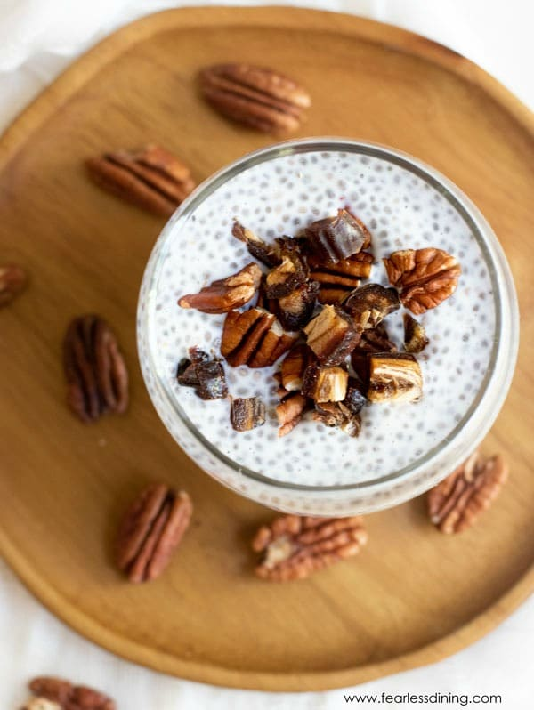 close up of the chopped dates and pecans on this vanilla chia pudding