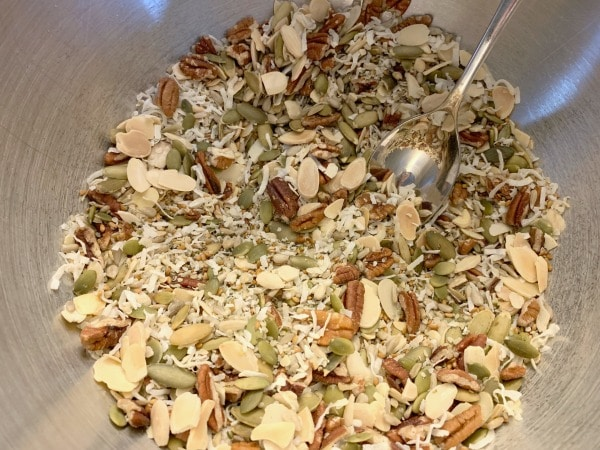add the granola ingredients to a bowl and mix well
