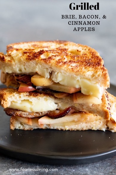 grilled brie cheese with bacon and cinnamon apples on a plate