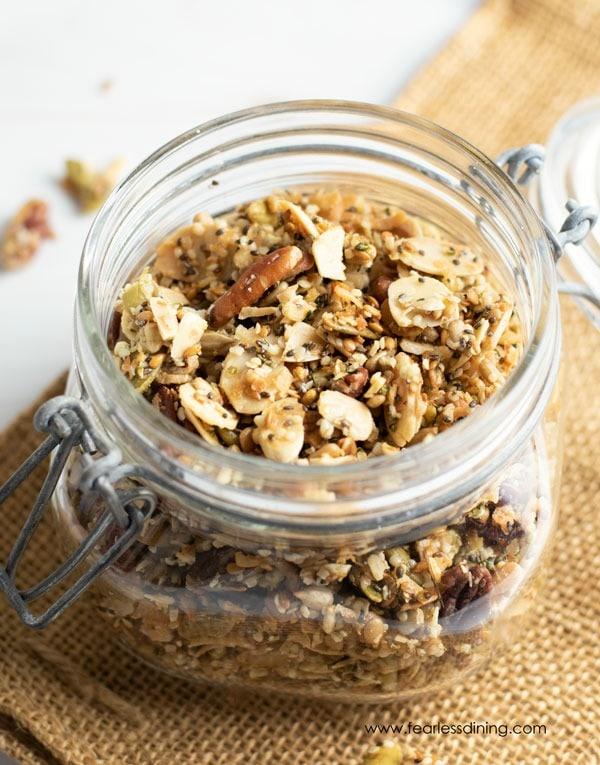 paleo granola in a glass sealable mason jar