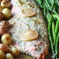 Sheet Pan Garlic Butter Salmon, Asparagus & Potatoes