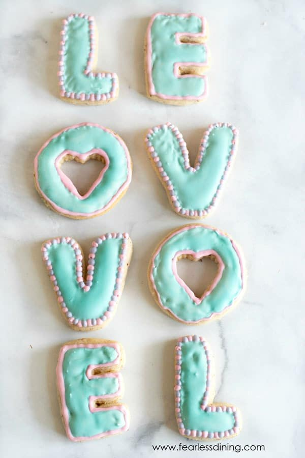 LOVE cookies in rows spelling out the word