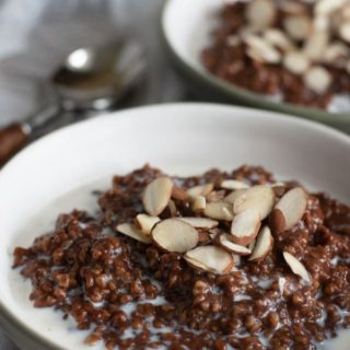a close up shot of a bowl of choclate steel cut oats topped with slivered almonds