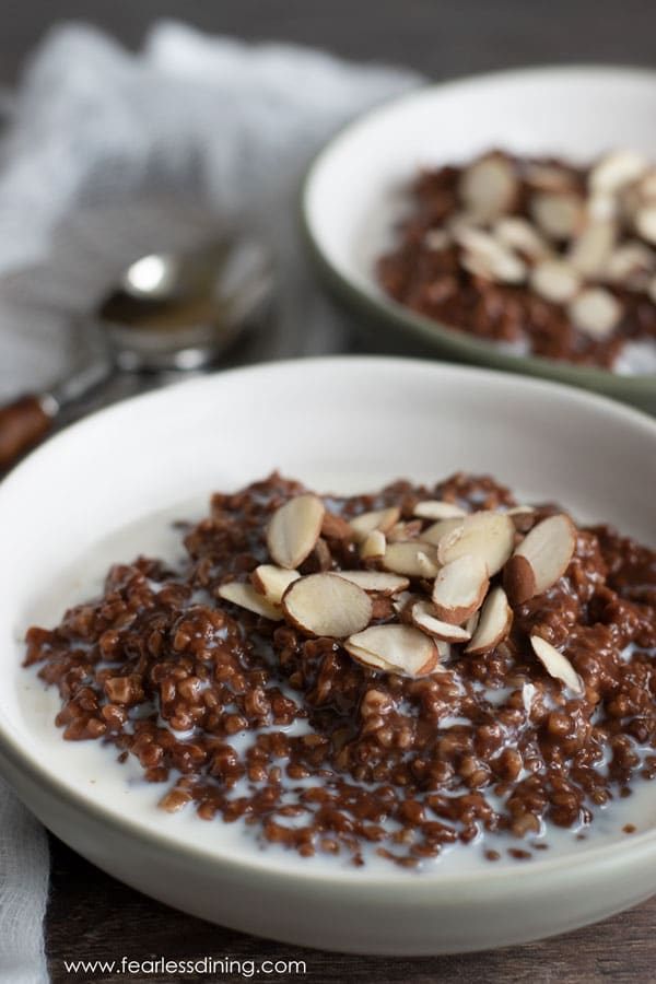 gluten free chocolate steel cut oats in bowls. Topped with sliced almonds