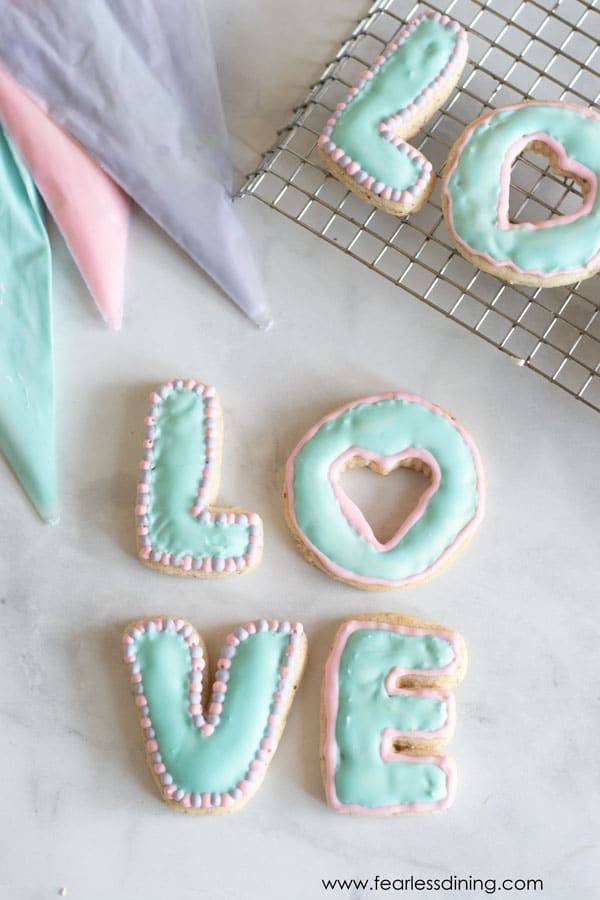 LOVE shaped gluten free cut out cookies decorated with royal icing