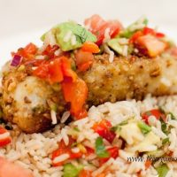 Pistachio Nut Crusted Halibut with Roasted Red Pepper Salsa