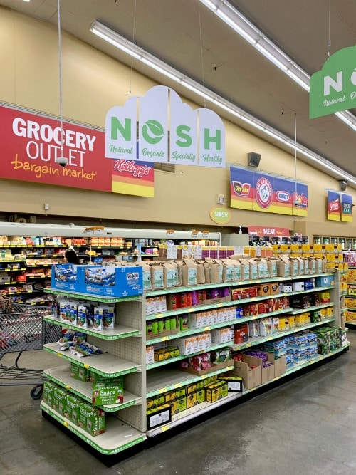 the nosh organic section at Grocery Outlet