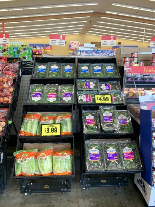 an organic lettuce deal section in Grocery Outlet