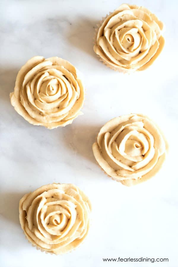 top view of gluten free caramel cupcakes decorated like roses