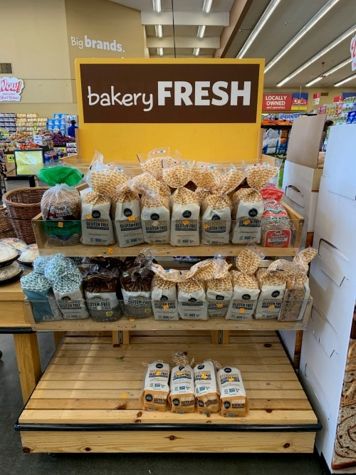 gluten free bread on a grocery display