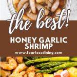 a pinterest collage of the honey garlic shrimp photos