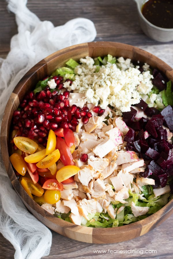 a view of a chopped chicken salad in a bowl before it is mixed