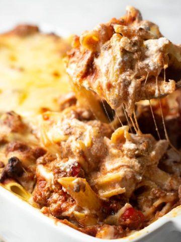 a spoonfull of ziti casserole