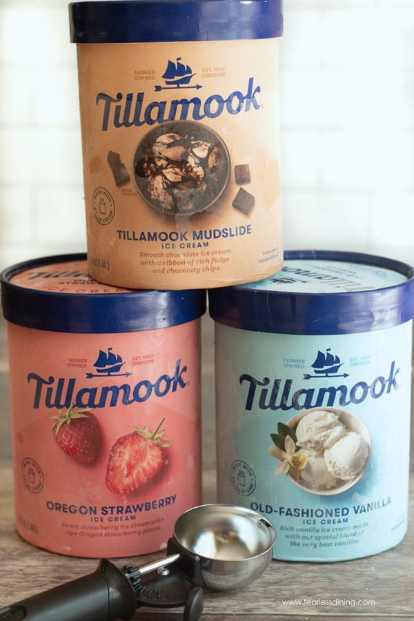 Tillamook ice cream containers stacked on top of each other