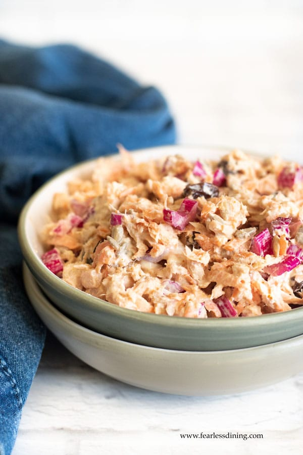 a bowl of Curried Tuna Salad with Rainbow Chard