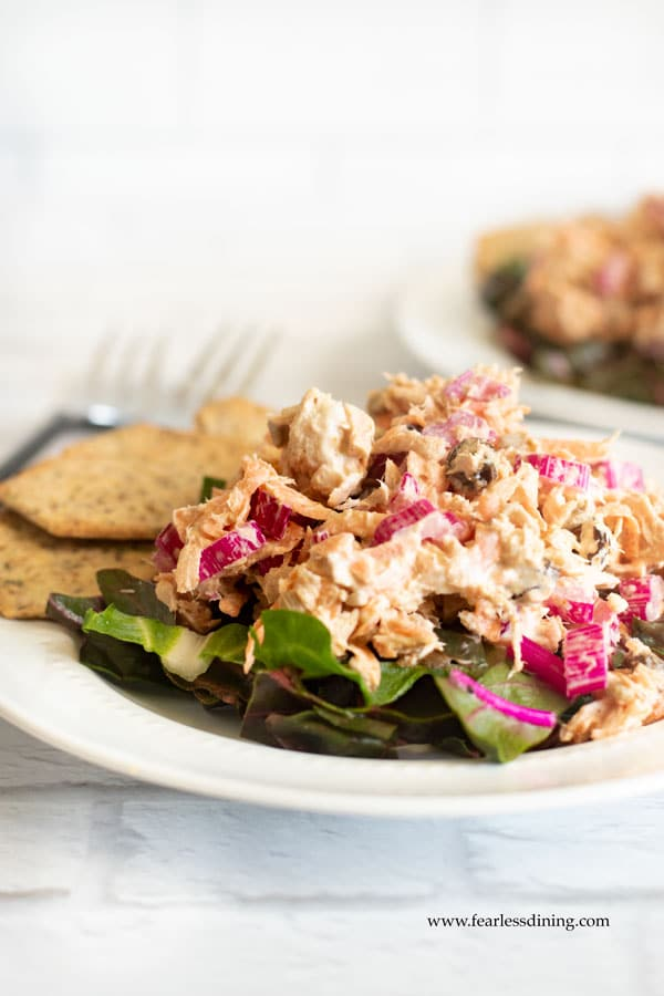 a plate with rainbow chard curried tuna salad over Swiss Chard leaves.