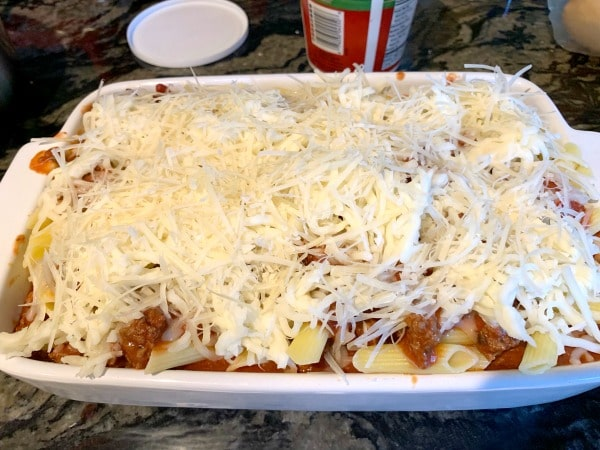 ziti casserole ready to bake