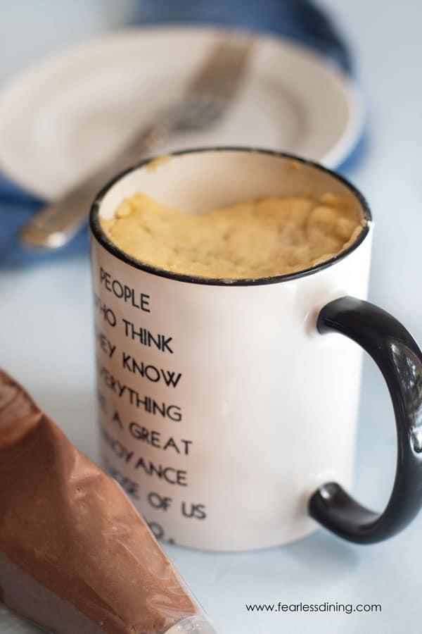 gluten free vanilla mug cake in a mug