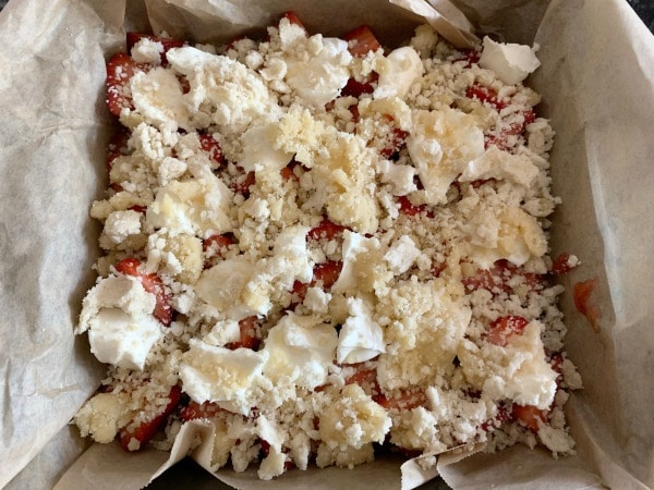 strawberry cream cheese bars ready to bake