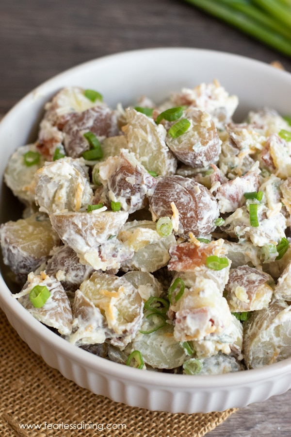 a close up of a bowl of gluten free potato salad