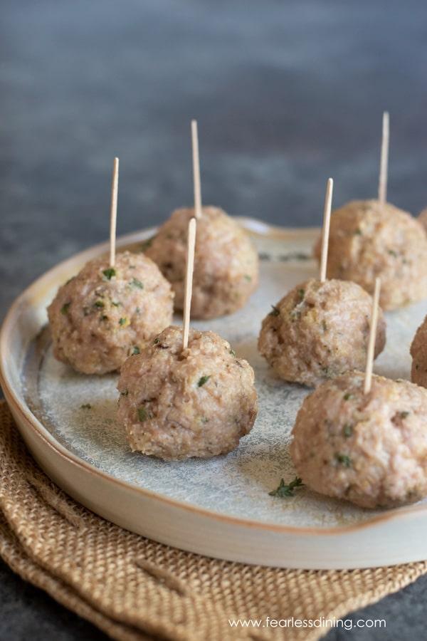 a platter with gluten free ground chicken meatballs