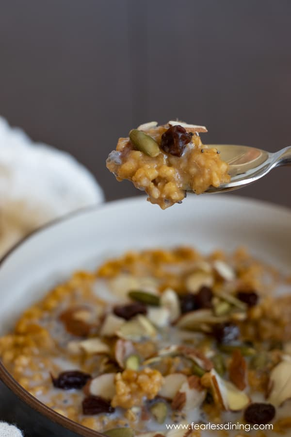 a spoon holding up a bite of slow cooker pumpkin oats
