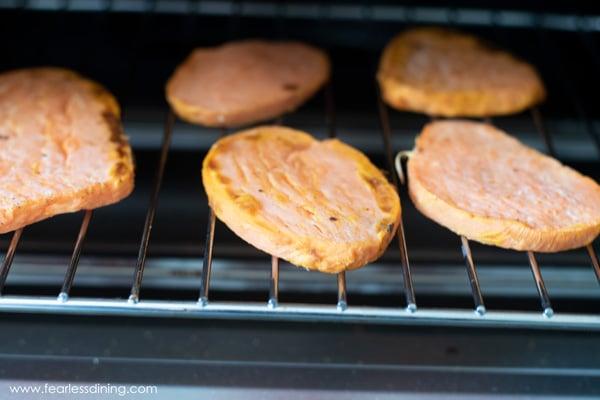 toasting Sweet PotaTOASTS in the toaster oven