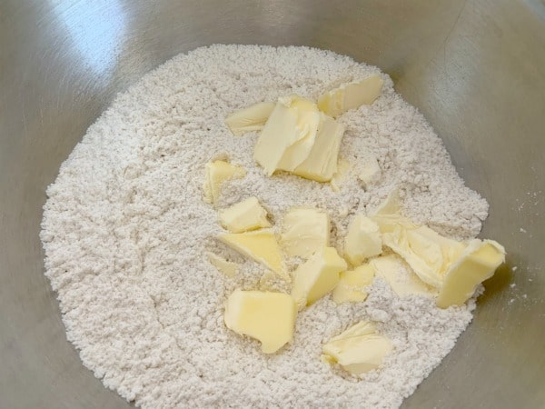 dry ingredients with cold butter chunks