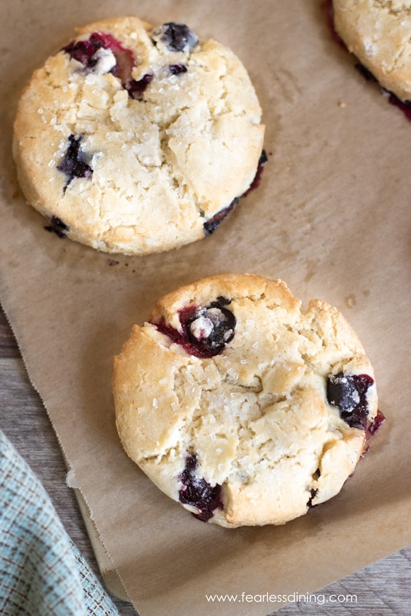 close up of baked gluten free blueberry scones on a baking tray