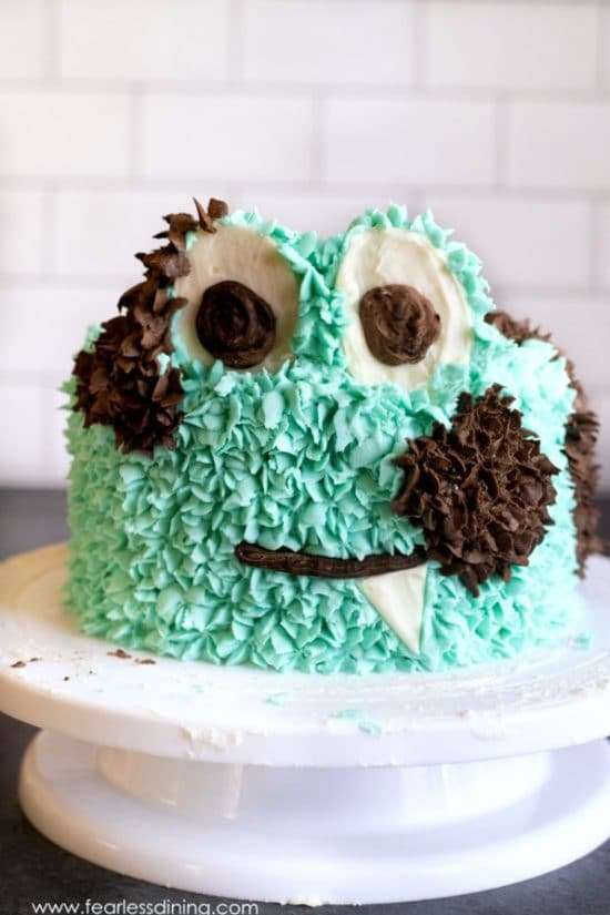 gluten free mint chip cake decorated like a monster