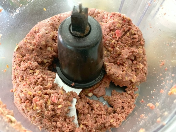 the protein ball batter in a food processor