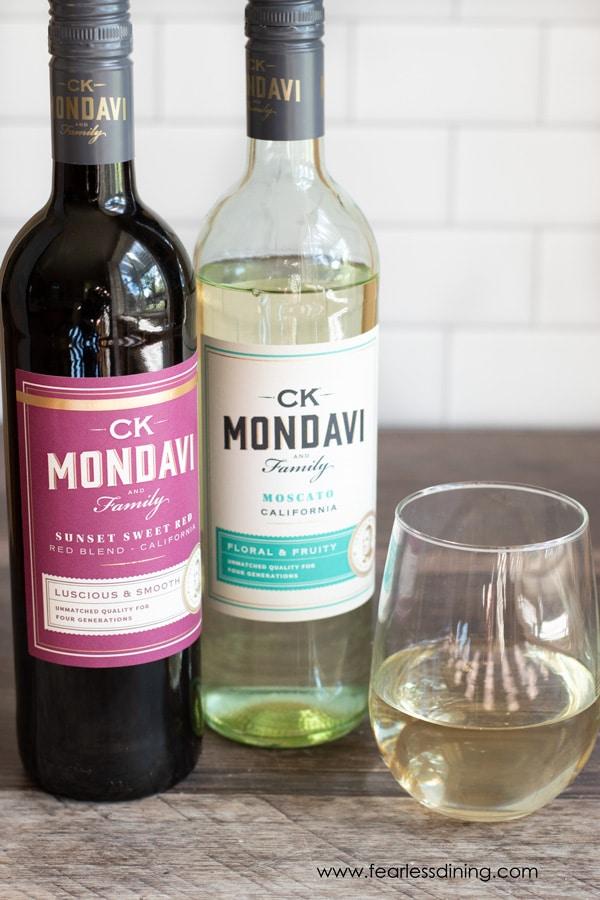 two bottles of CK Mondavi Wine