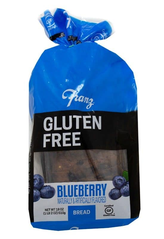 a package of Franz Gluten Free Blueberry Bread in its package