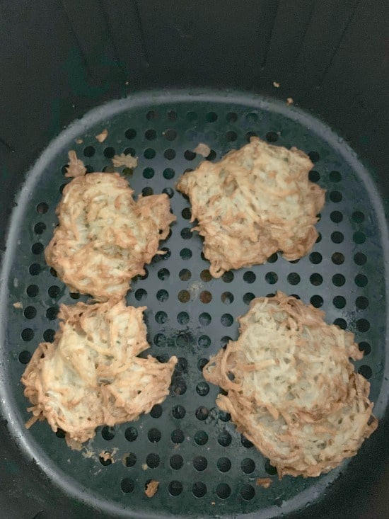 cooked latkes in the air fryer