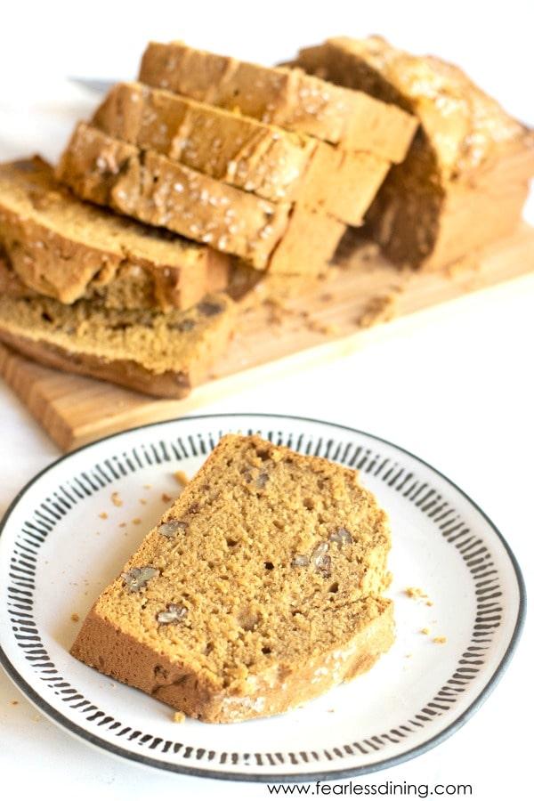a slice of gluten free butternut bread on a plate