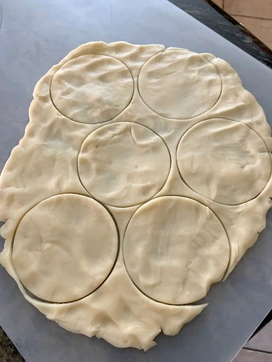 circles cut out from the pie crust