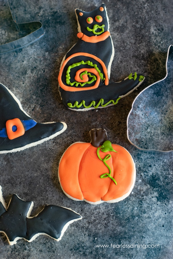 Halloween cut out cookies decorated