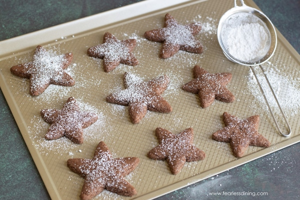 gluten free Swiss brunsli cookies on a cookie sheet with powdered sugar