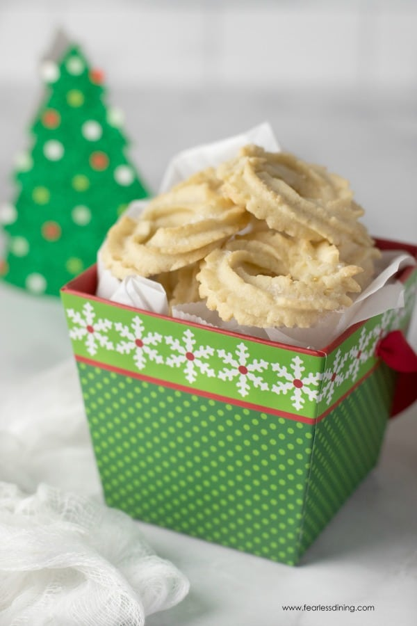 a holiday box filled with gluten free butter cookies