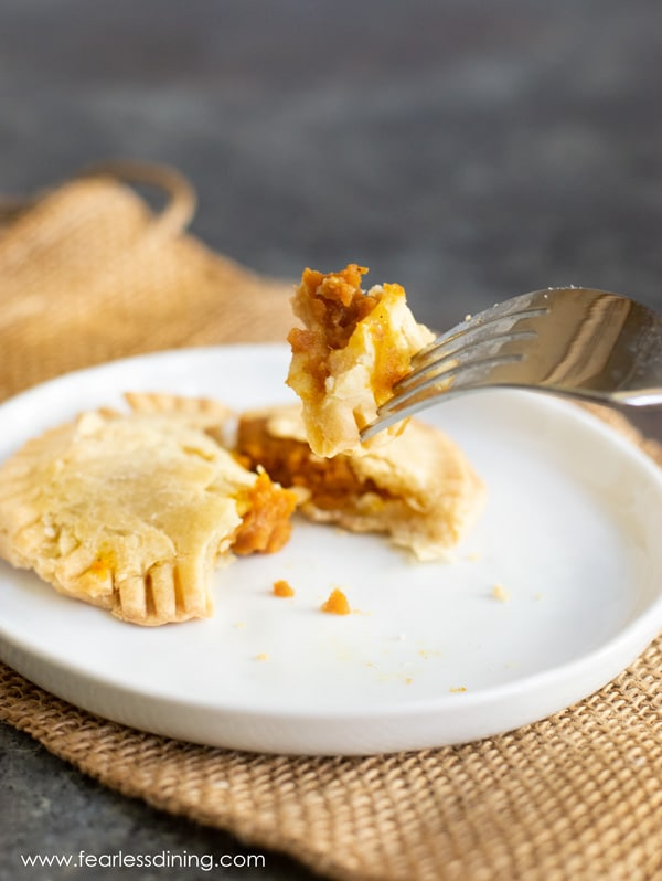 a forkful of pumpkin hand pie