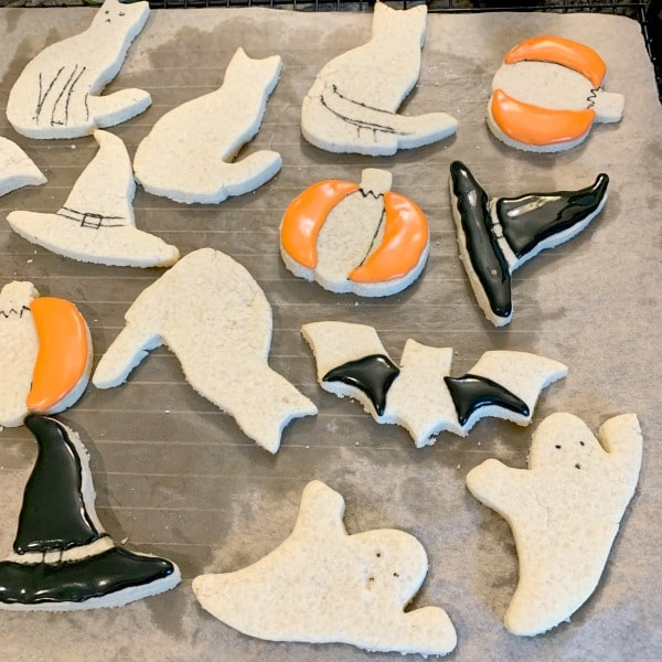 icing Halloween cut out cookies