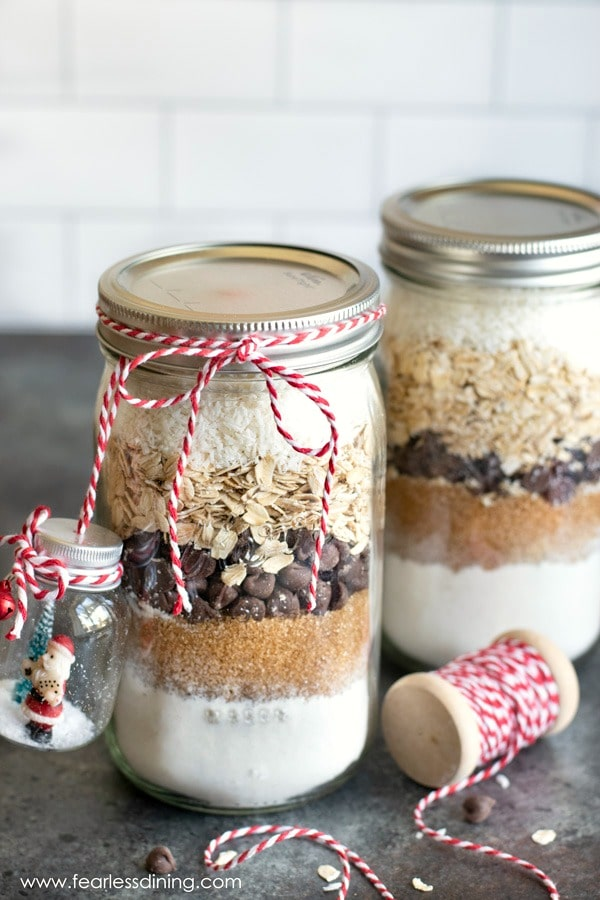 filled mason jars with gluten free cookie mix