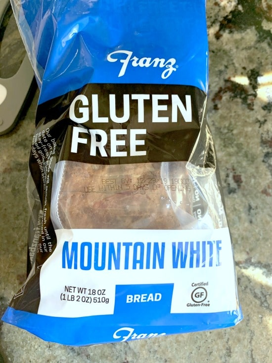 a package of franz gluten free bread in the package