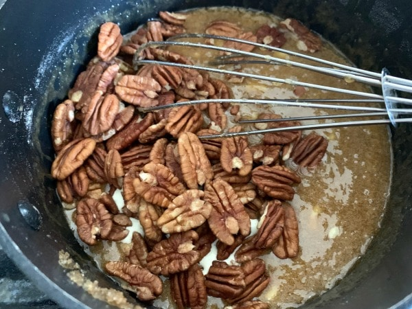 pecans in the pecan pie mixture
