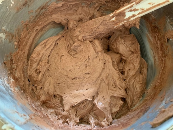 chocolate frosting in a mixer