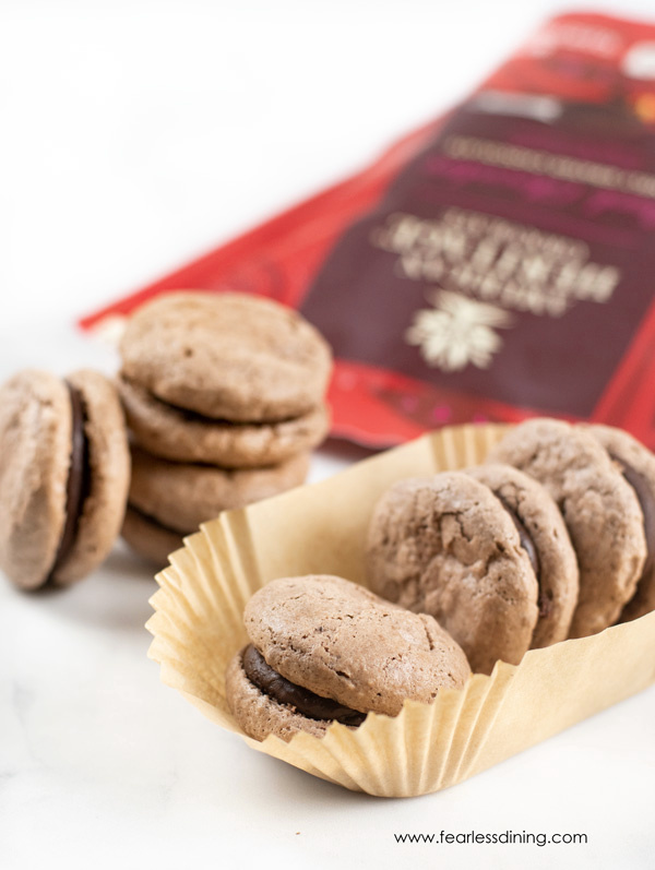 chocolate macarons in paper