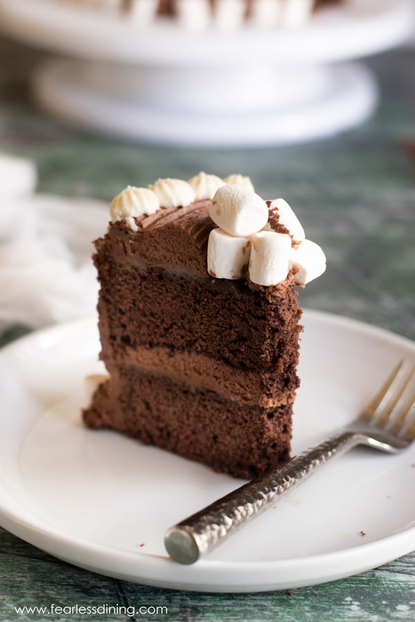 a slice of gluten free chocolate mint cake on a plate with a fork