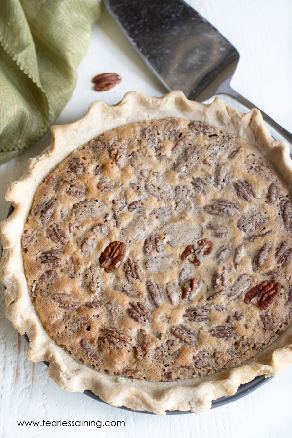 top view of a pecan pie